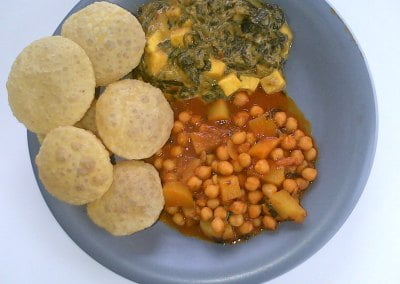 Chick Pea and Potatoes plus Spinach and Paneer